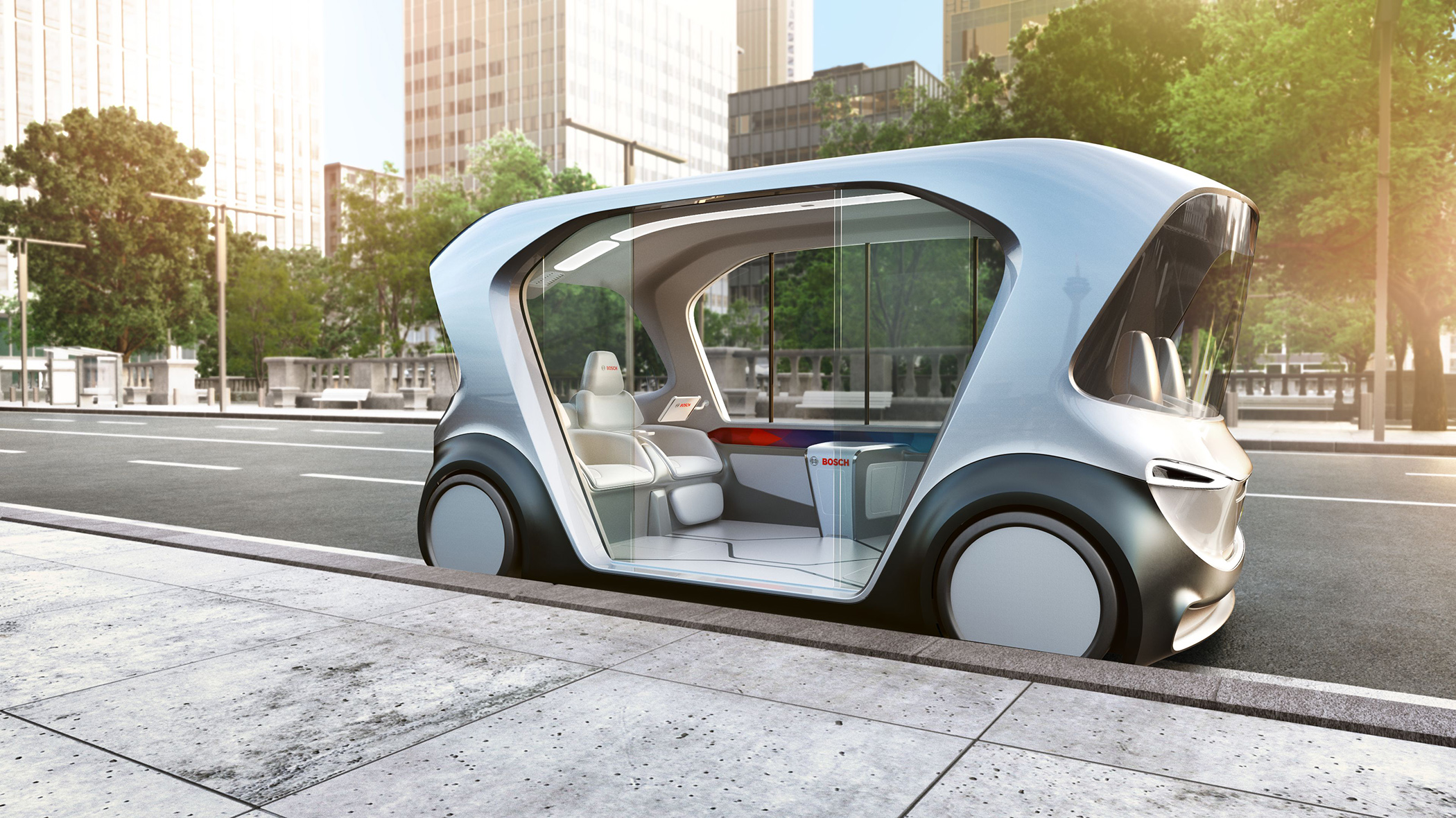 Weltpremiere des neuen Shuttle-Konzeptfahrzeugs von Bosch auf der CES 2019 in Las Vegas