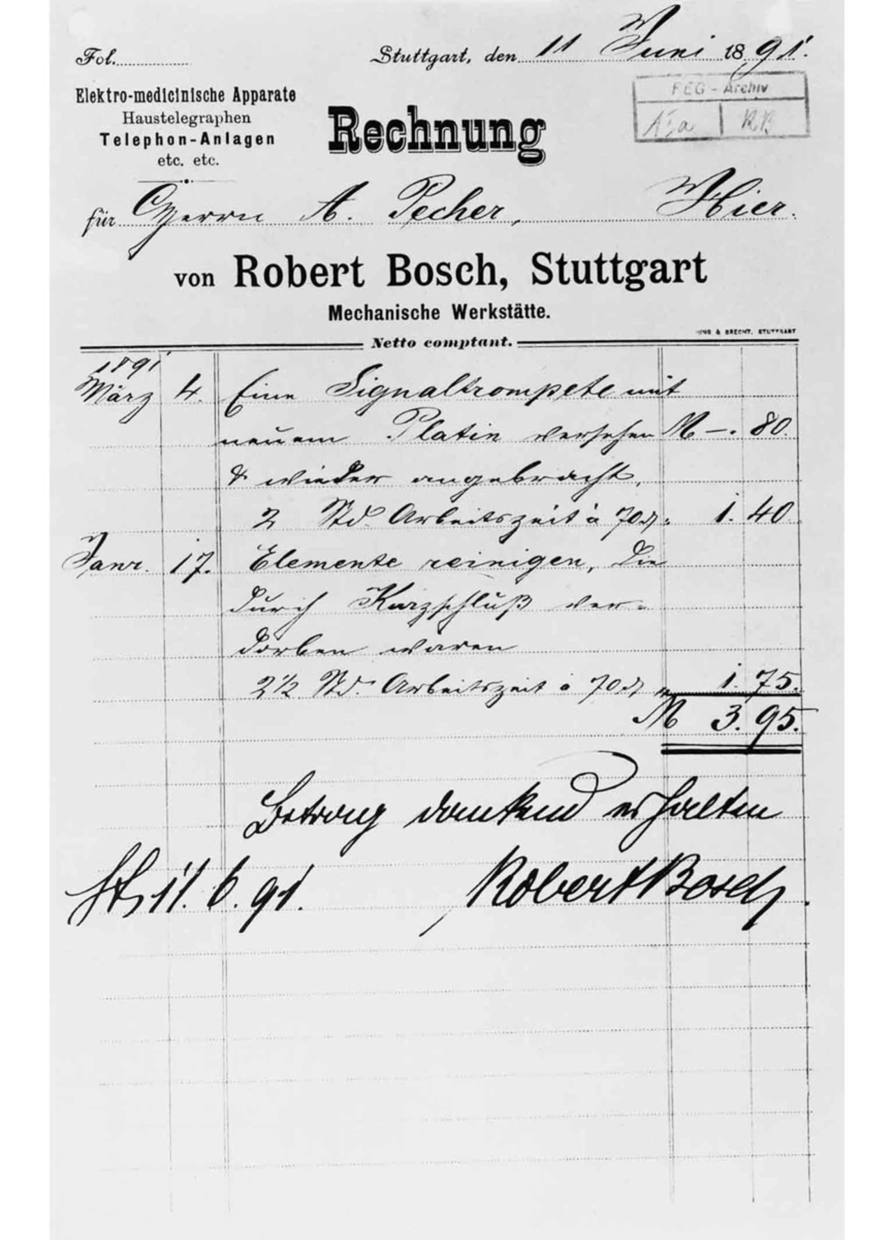 Bill from the early days of the company, 1891 - Bosch Media Service