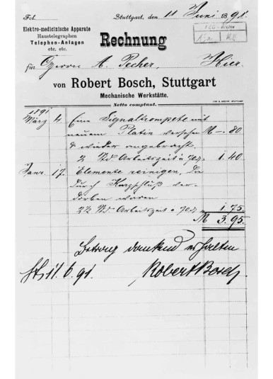 Bill from the early days of the company, 1891