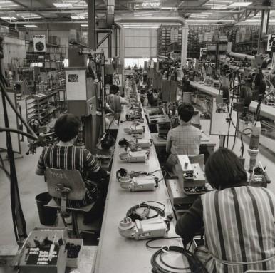 Fließbandfertigung/Produktion von Elektrowerkzeugen im Werk Leinfelden, 1969