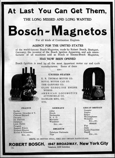 Bosch Anzeige in einer amerikanischen Zeitung, 1906