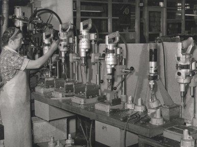 Bosch power tools used as machine tools at the Leinfelden plant, 1956