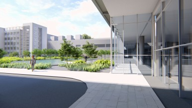 Rendering of the Bosch Engineering Center campus in Budapest
