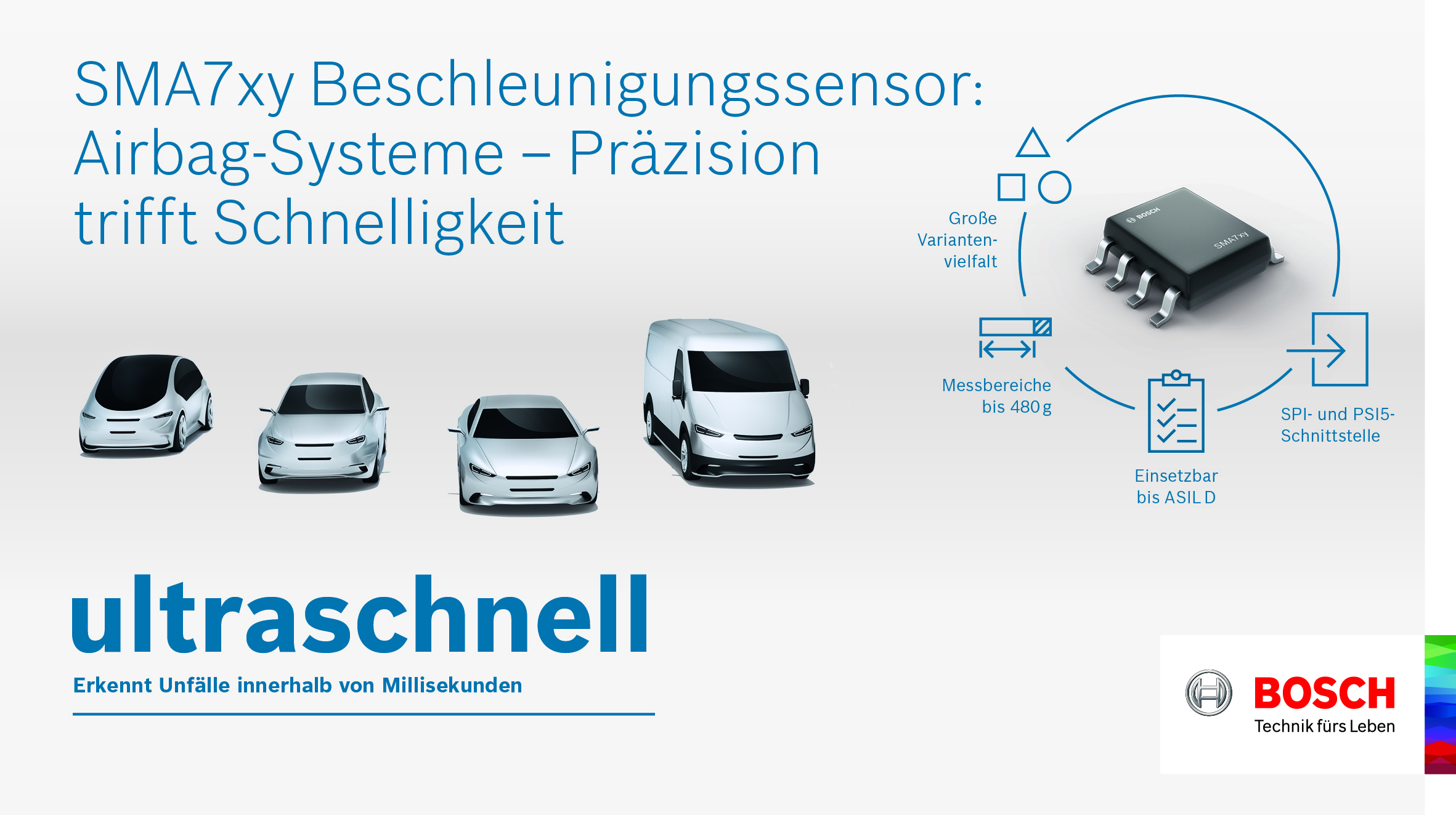 Neue Hoch-g-Beschleunigungssensoren erhöhen den Schutz für Fahrzeuginsassen.