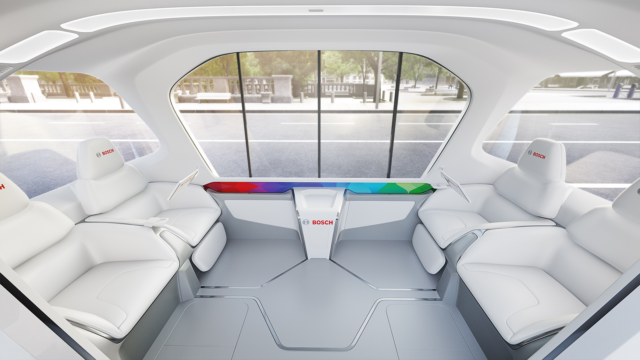 Debut of Bosch's new concept shuttle at CES 2019 in Las Vegas
