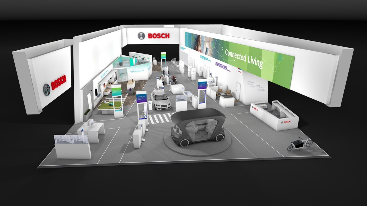 Rendering of the Bosch Booth at the CES in the Central Hall
