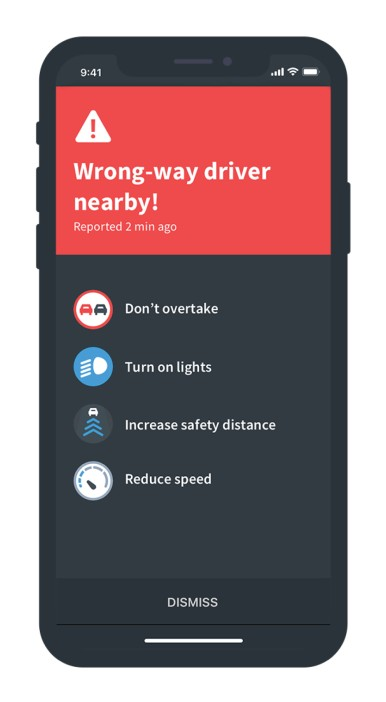 Cloud-based wrong-way driver warning from Bosch in NDrive's navigation app