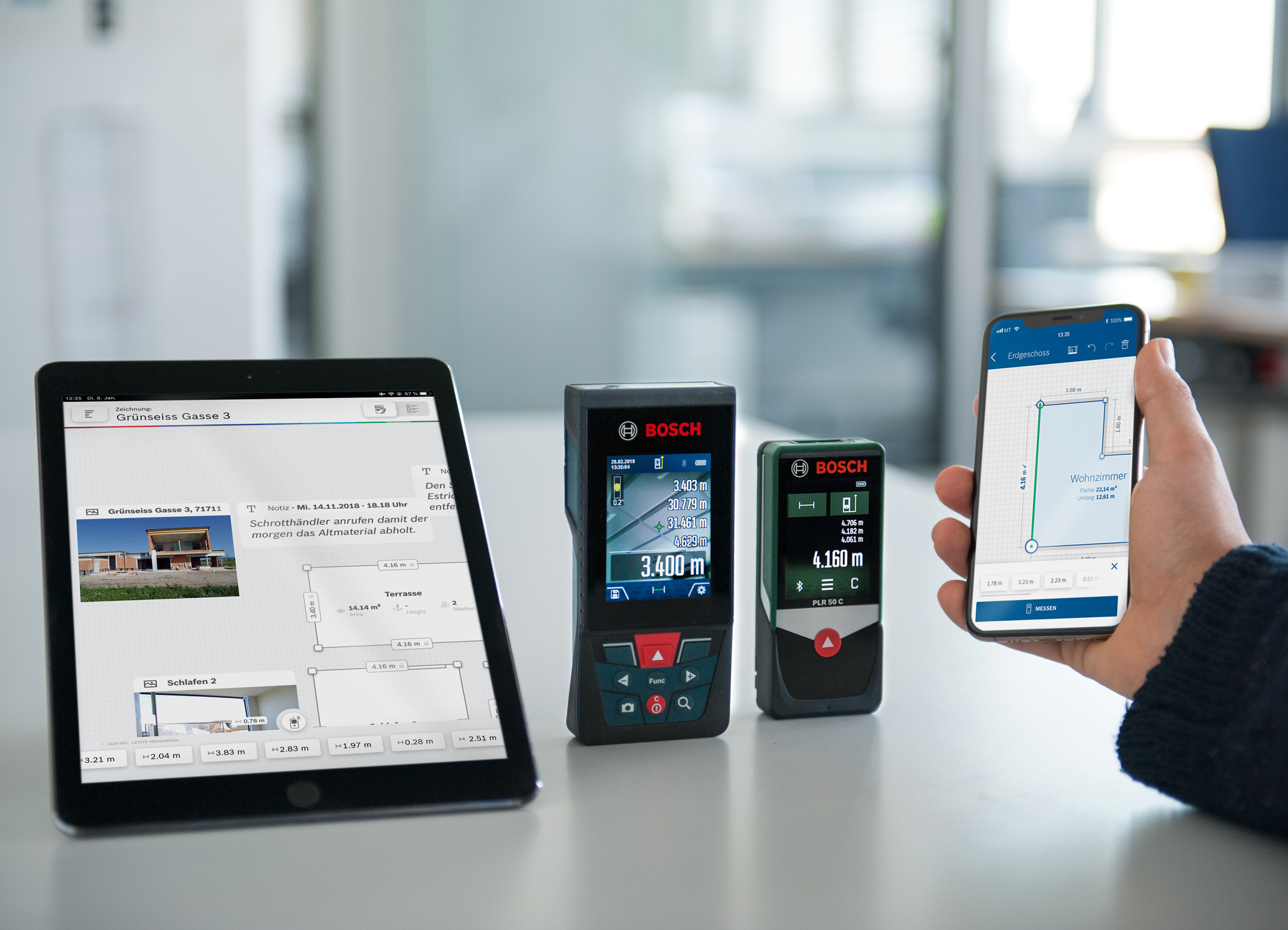 Creating measurements fast and efficiently: New Measuring App from Bosch