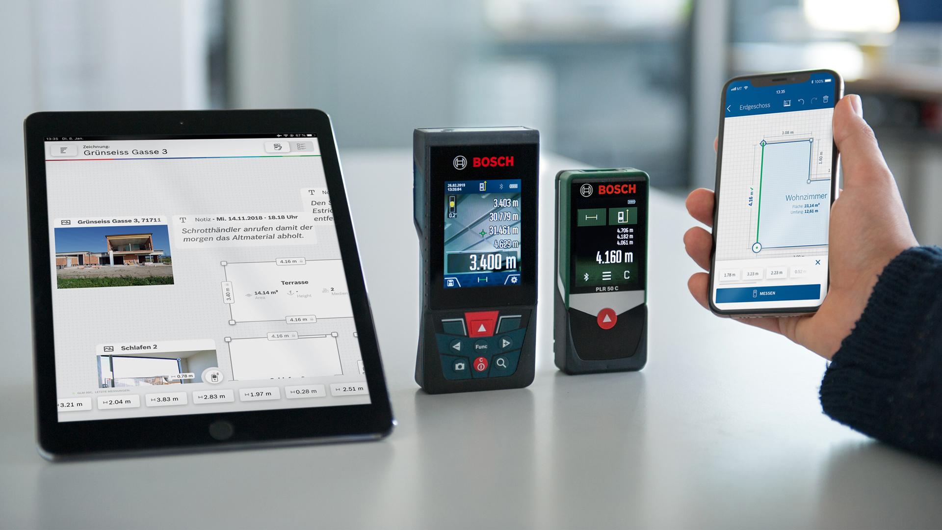 Bosch Laser Entfernungsmesser Mit App : Aufmaße zeitsparend und effizient erstellen neue mess app von