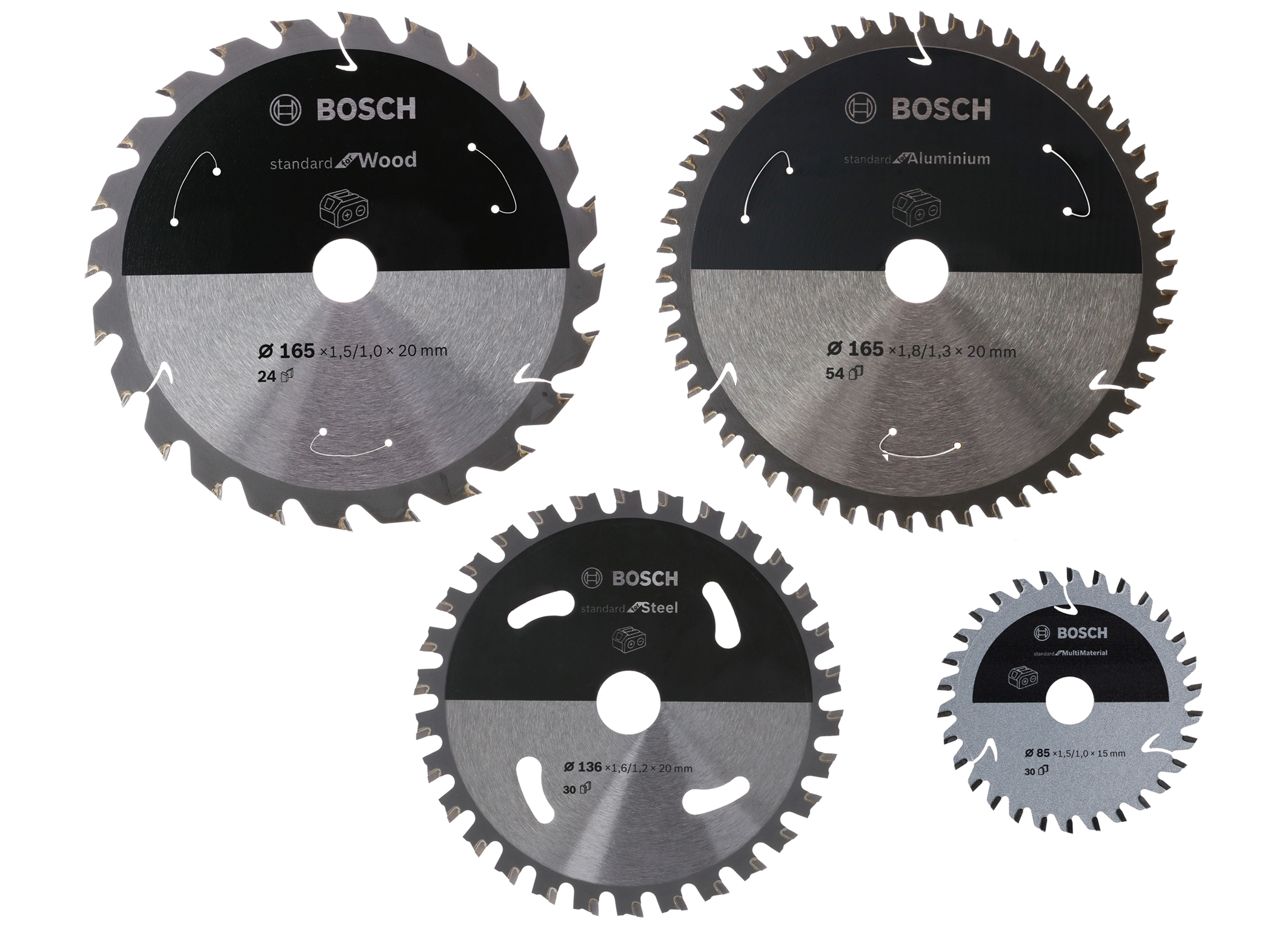 "Clean cuts in common materials, maximum runtime for cordless saws: ""Standard for"" circular saw blades"