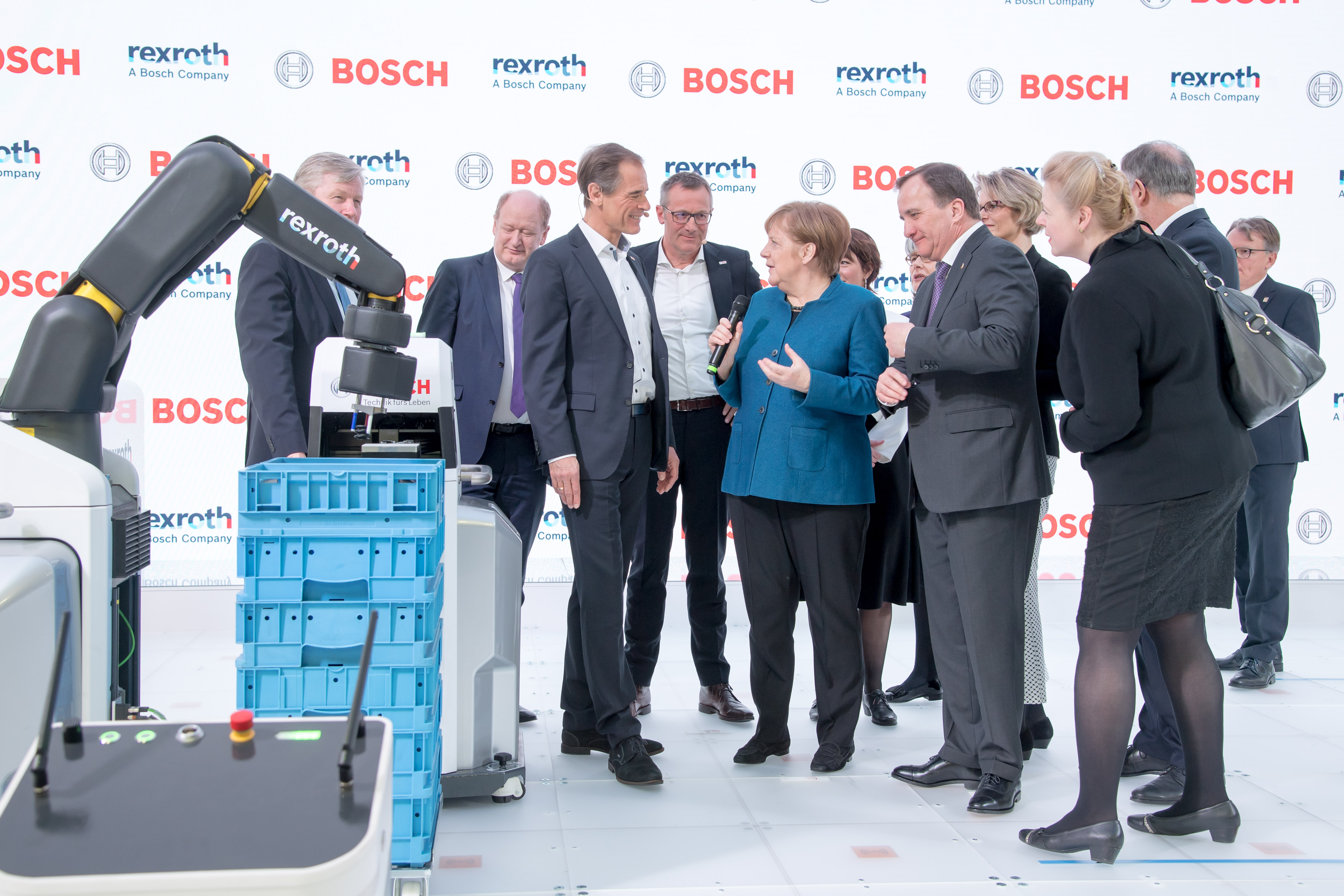 Chancellor Angela Merkel and the swedish prime minister Stefan Löfven visit the Bosch booth at the Hannover Messe 2019. The focus is on autonomous transport systems and intelligent robotics