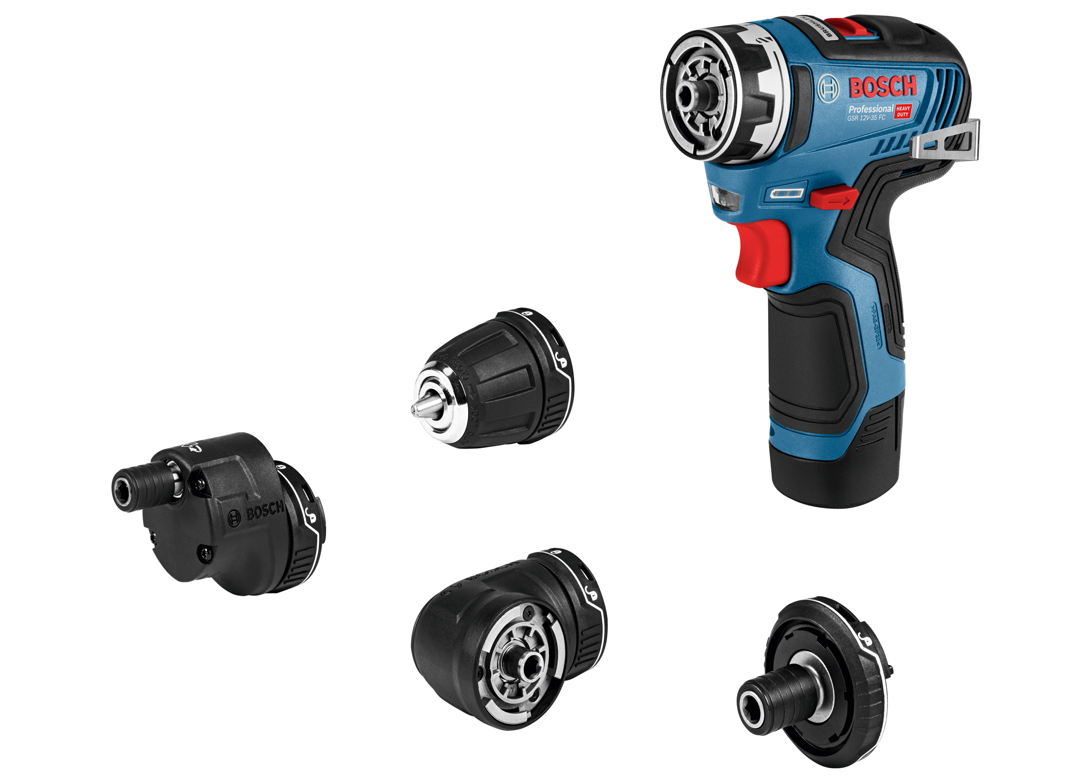 The new GSR 12V-35 FC Professional cordless drill/driver: Proven flexibility thanks to four system adapters