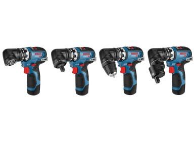Bosch FlexiClick 12 Volt bietet bewährte Flexibilität:  Acht mögliche Konfigurationen mit vier Aufsätzen