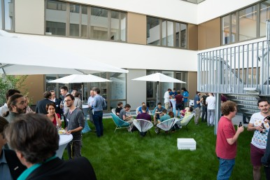 Networking and get-together at the opening of the AI research building at the University of Tübingen.