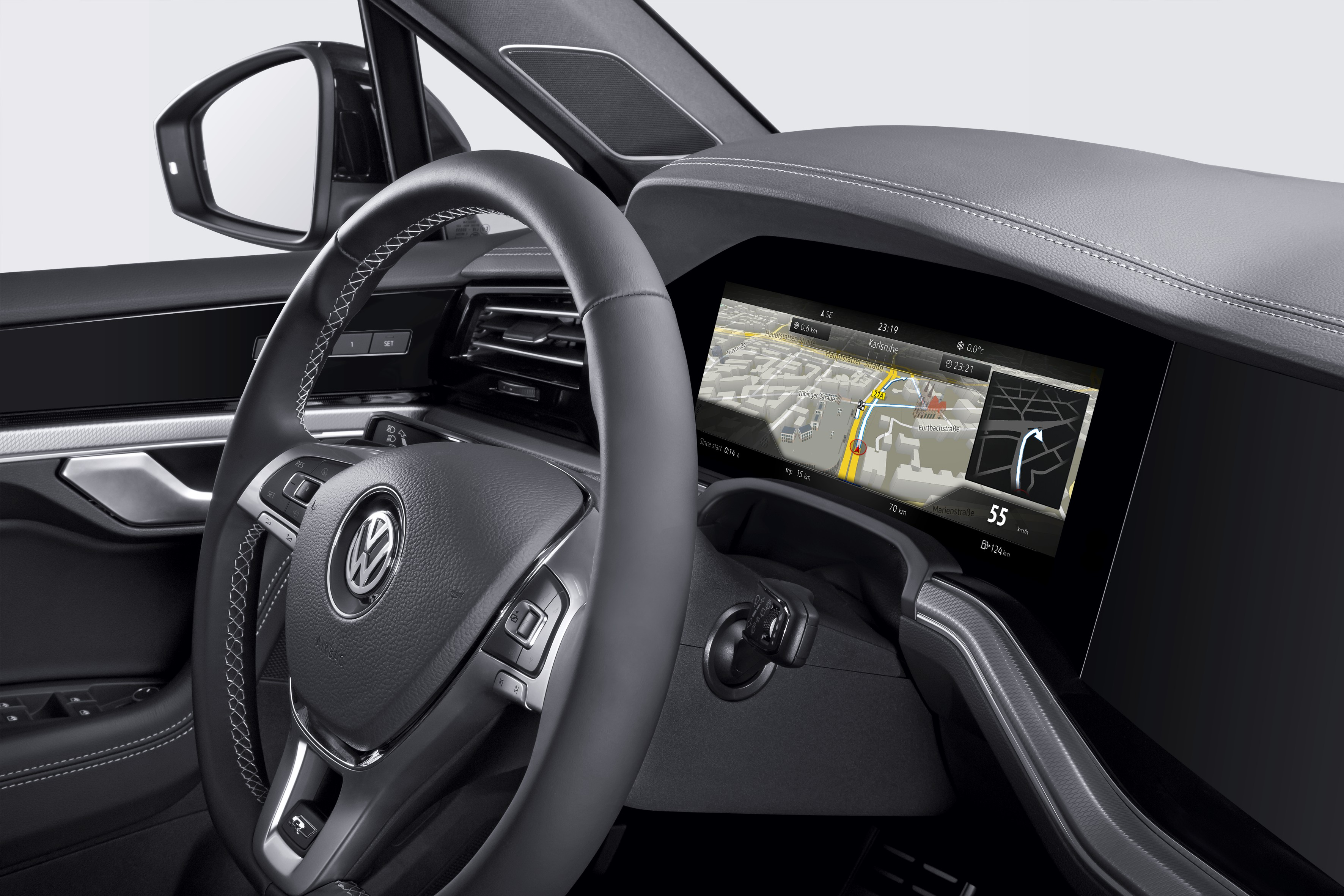 "Bosch's curved instrument cluster celebrates its world debut in the ""Innovision Cockpit"" of the new Volkswagen Touareg"