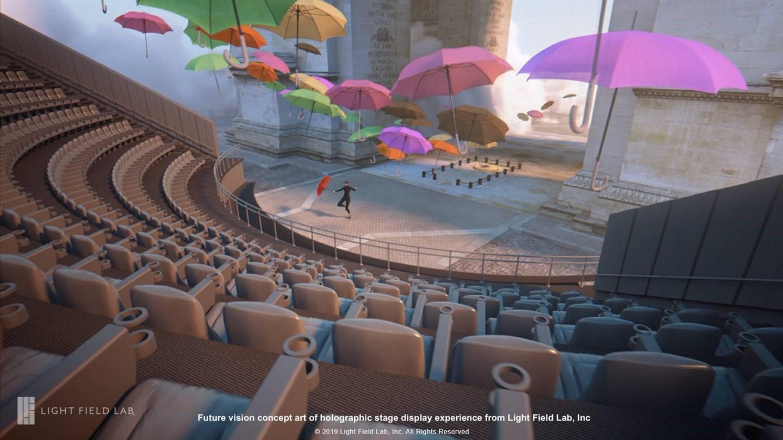 Konzeptzeichnung der Vision eines holographischen Bühnenbildschirms von Light Field Lab, Inc.