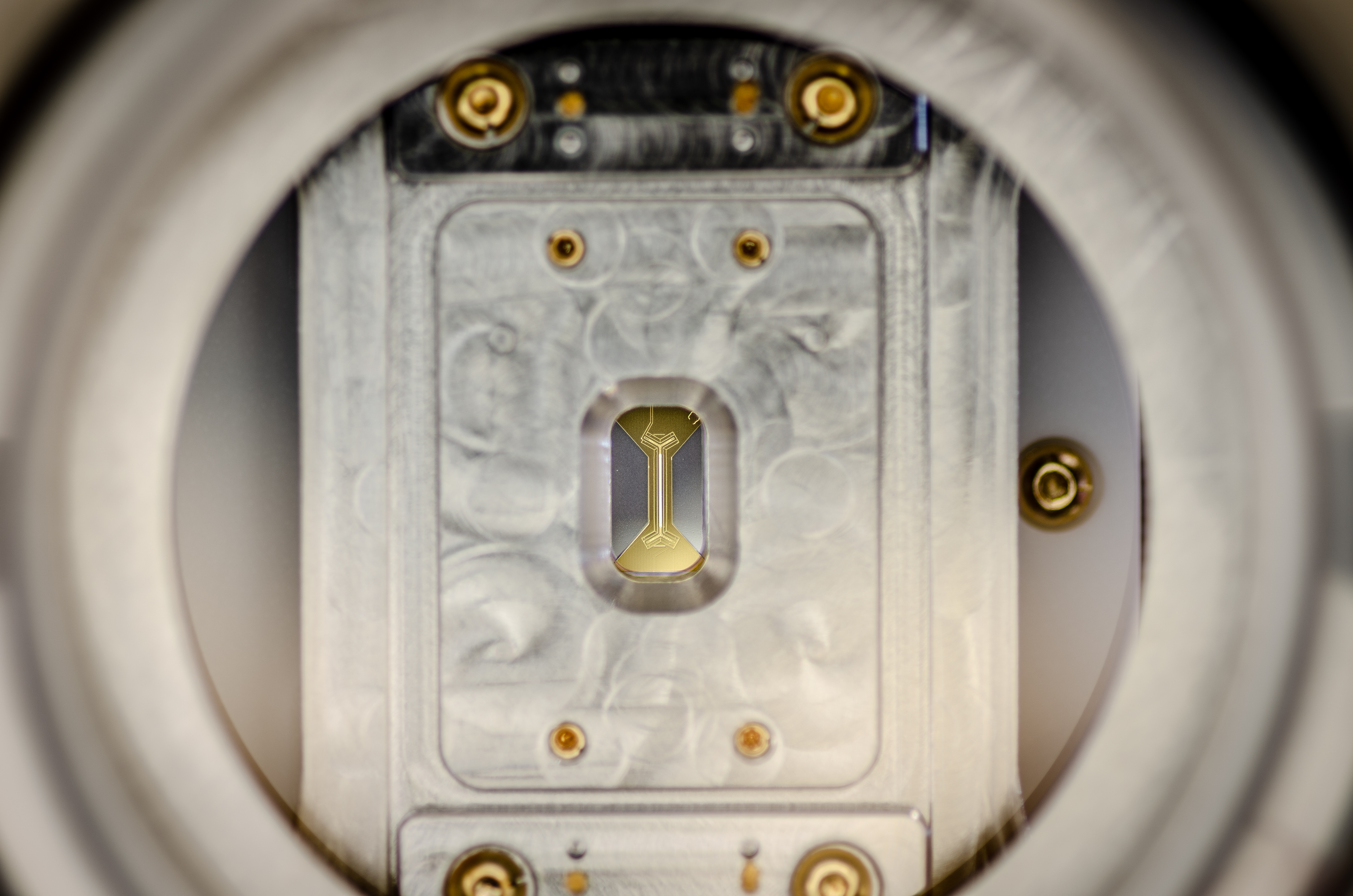 The heart of the quantum computer: Ion Trap in vacuum chamber