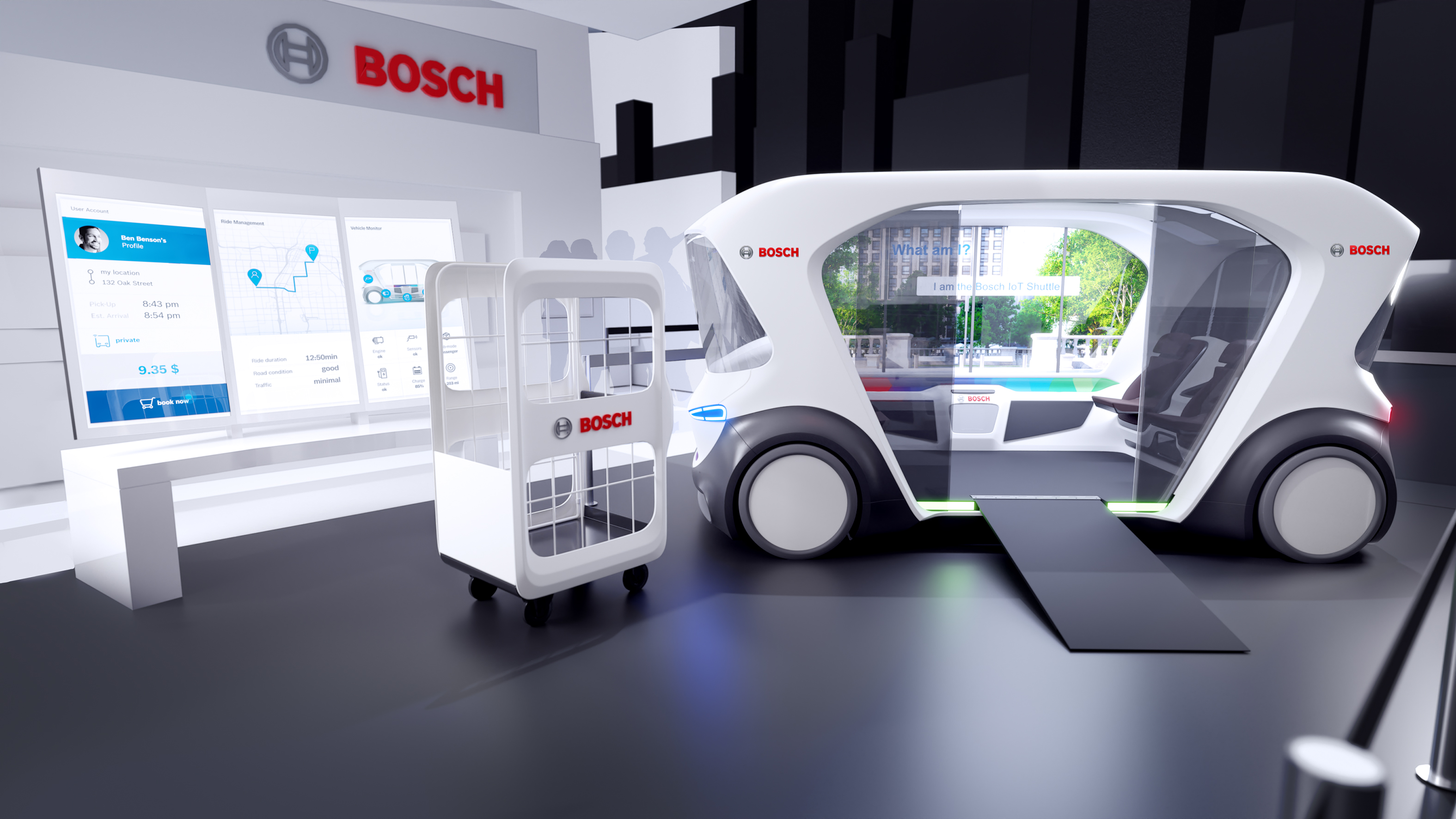 Bosch's enhanced concept shuttle at CES 2020 in Las Vegas