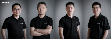 From left to right 周鑫 (ZHOU Xin) Cofounder and CPO,  吴甘沙 (WU Gansha) Cofounder and CEO, 姜岩  (JIANG Yan) Cofounder and CTO, 彭进展 (PENG Jinzhan) Cofounder and Chief System Architect
