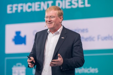 Dr. Stefan Hartung, Bosch board member and chairman of the Mobility Solutions business sector on stage at the Bosch Connected World 2020 in Berlin.