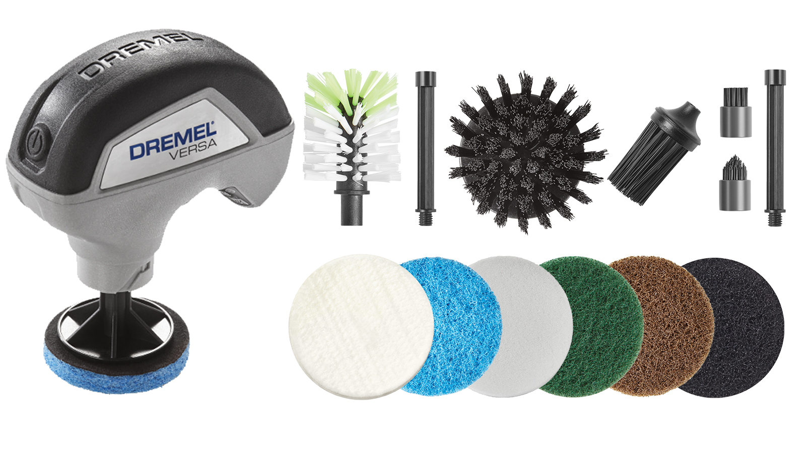 Broadest range of cleaning accessories on the market: Power scrubber Dremel Versa