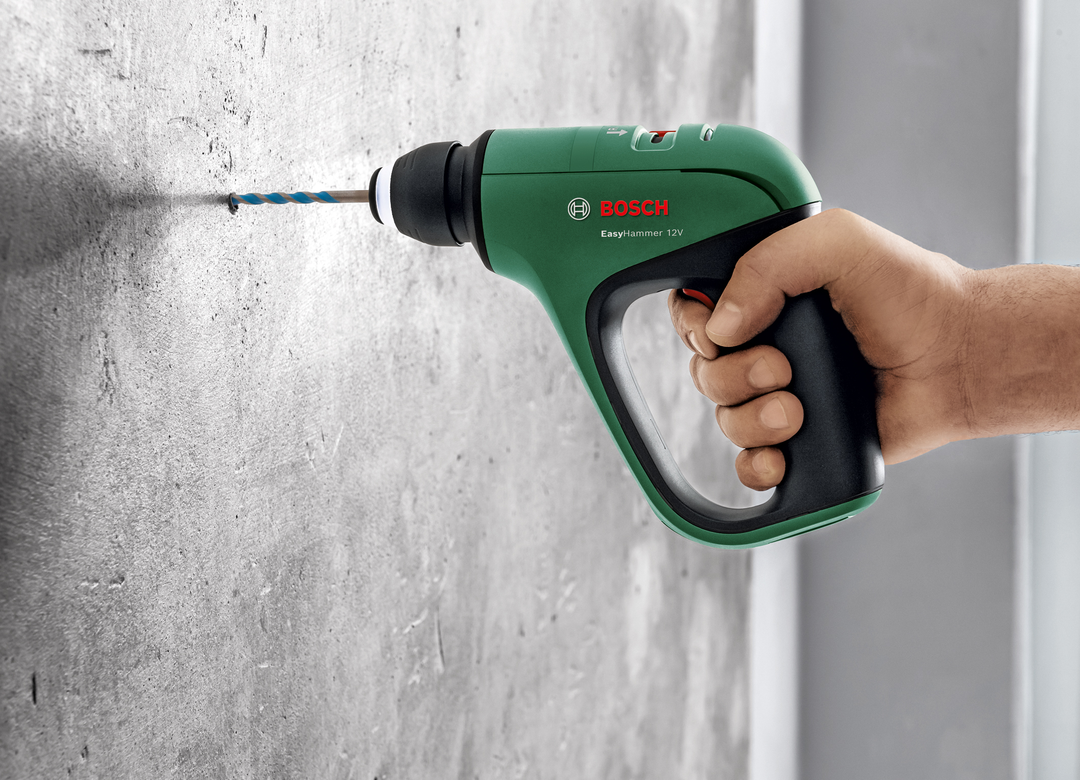 Pneumatic hammer mechanism for quick and easy drilling in concrete: Bosch EasyHammer 12V for many materials