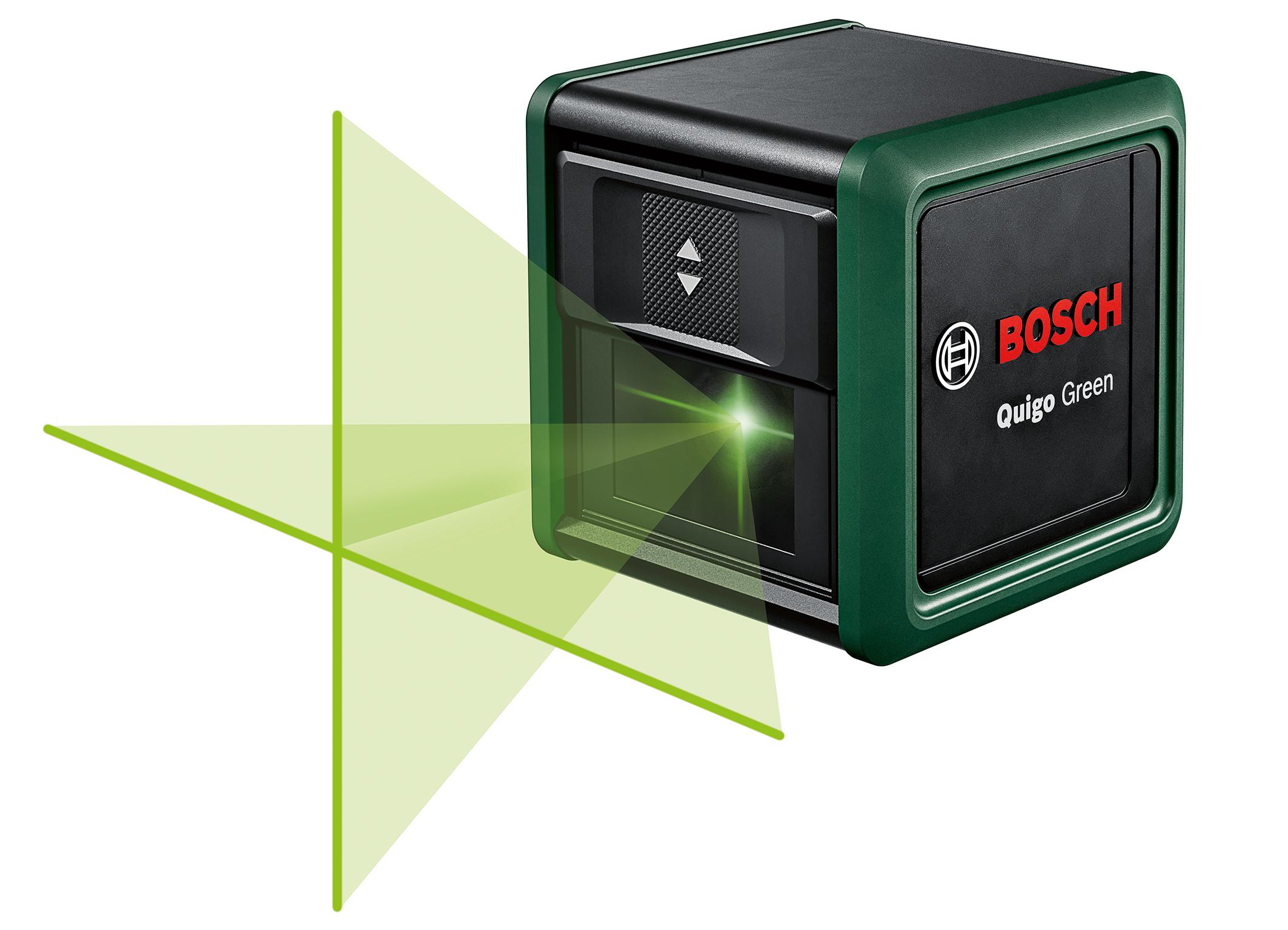 Grüner Kreuzlinienlaser durch und durch: Neue Generation Quigo Green von Bosch für Heimwerker