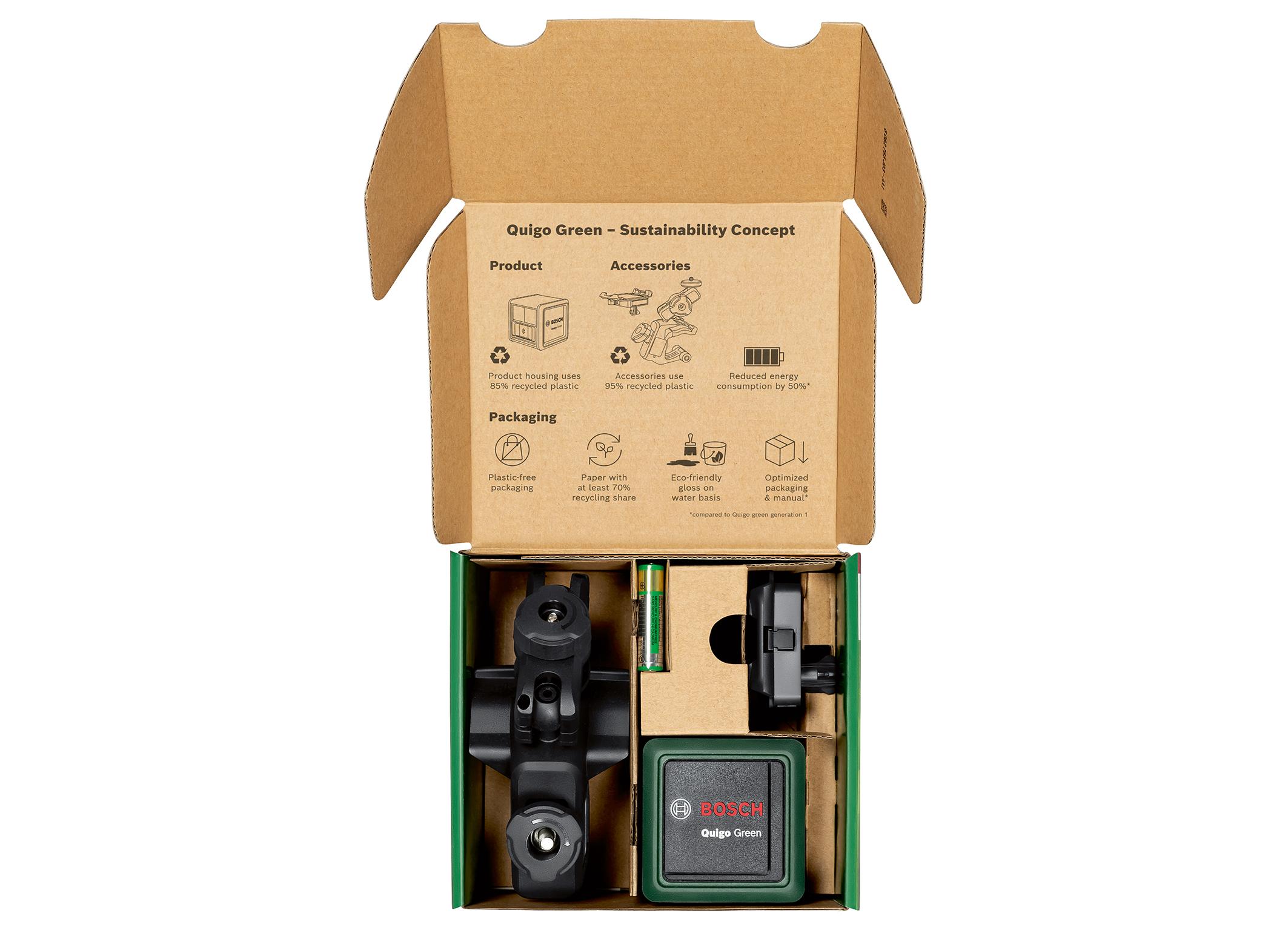 Weniger CO₂ und Abfall vom Produkt bis hin zur Verpackung: Neue Generation Quigo Green von Bosch für Heimwerker