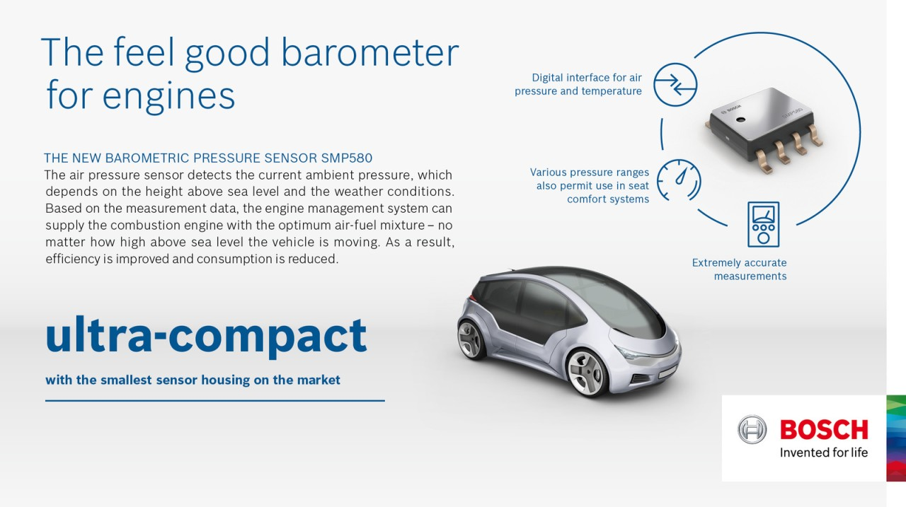 The new Bosch SMP580 barometric pressure sensor helps engine
