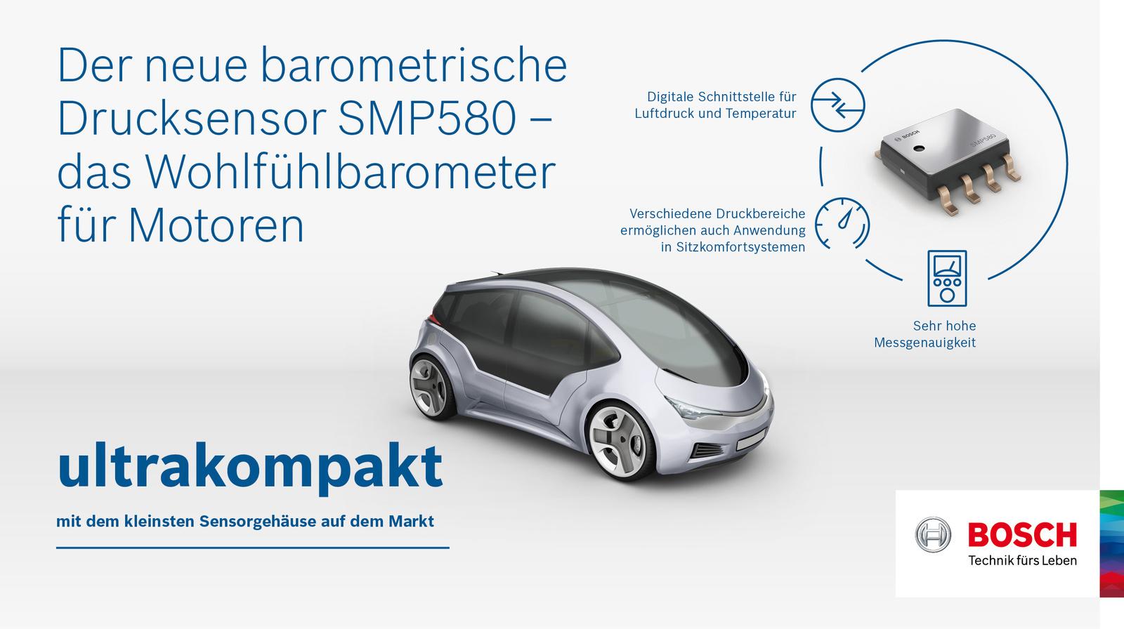 Der neue barometrische Drucksensor SMP580 von Bosch unterstützt Motormanagement-Systeme bei der Reduzierung von Kraftstoffverbrauch und Schadstoffausstoß