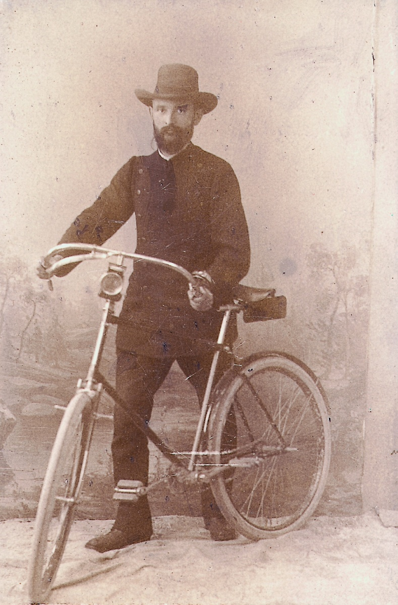 Robert Bosch with his bike, 1890