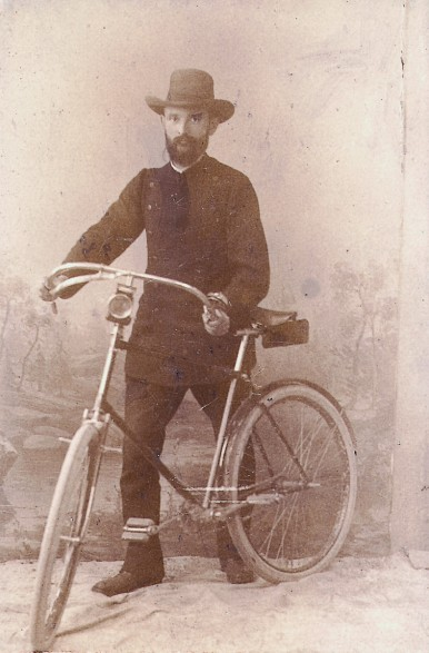 Robert Bosch with his bike, 1890