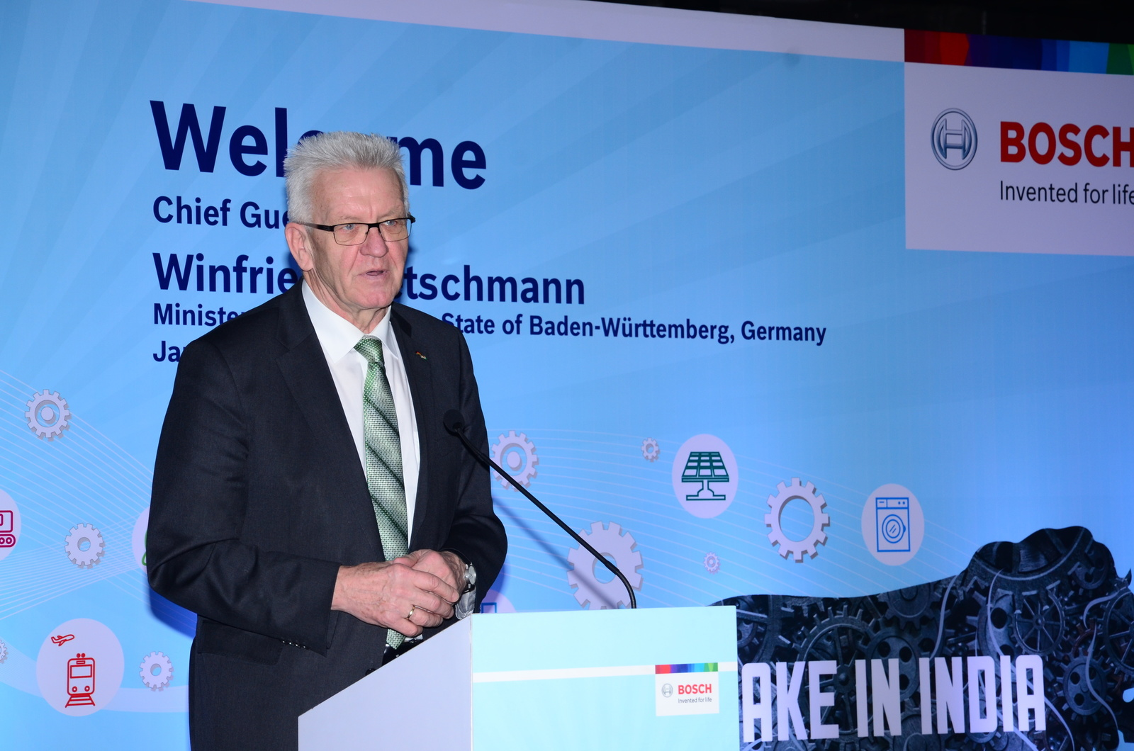 A distinguished guest: Minister-President Kretschmann visits Bosch in India