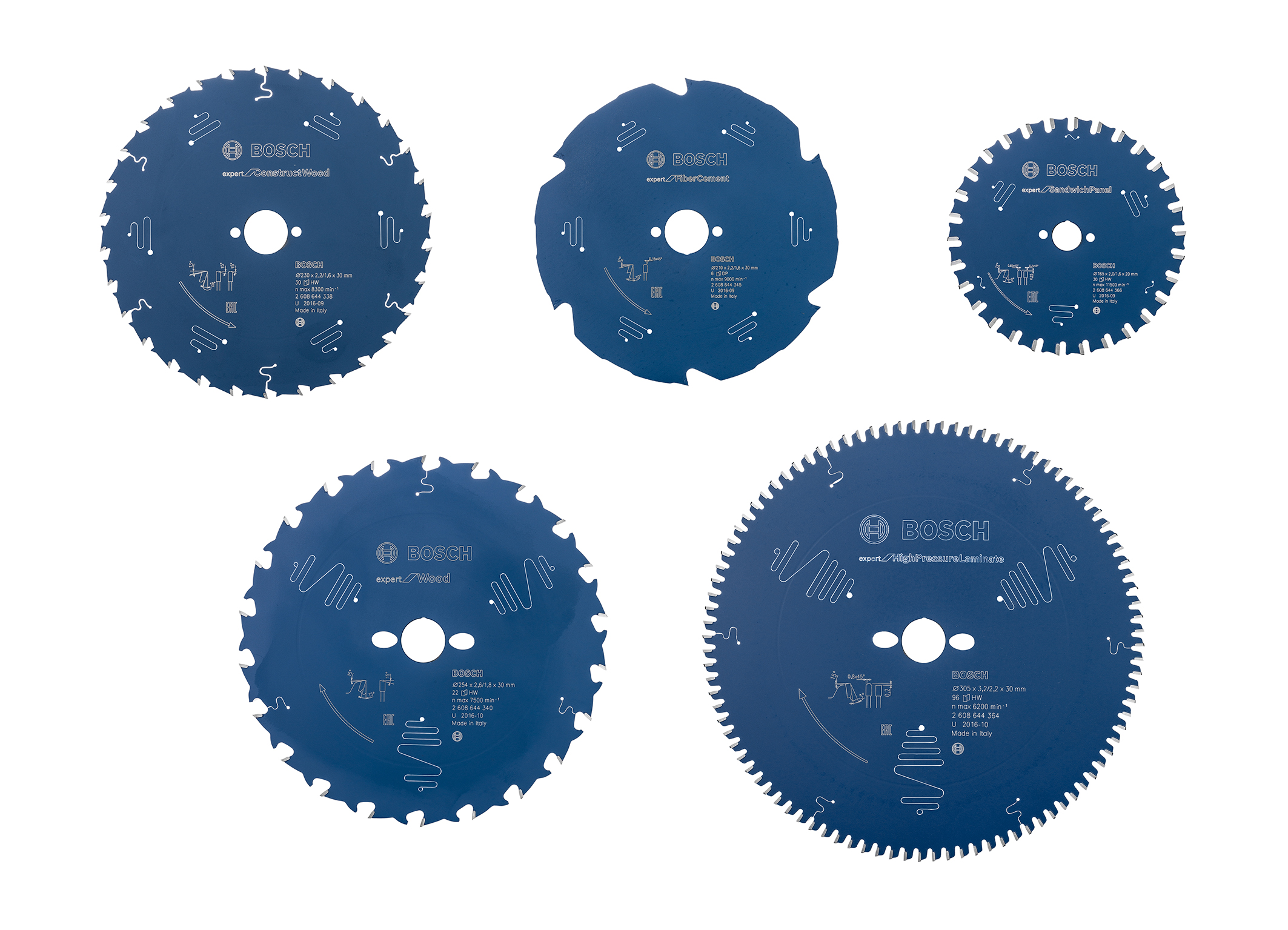 "For additional machine applications: Bosch ""Expert for"" circular saw blades for professionals"