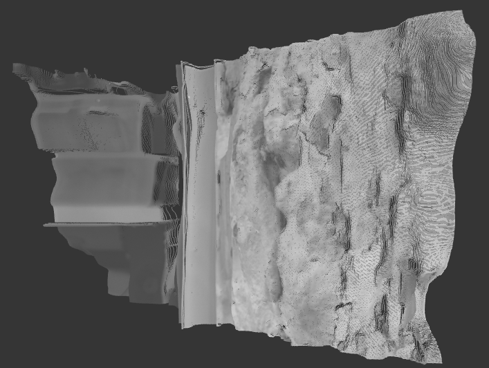 Dense point cloud of the wall captured with AIRY3D's 13.1 MP 3D camera prototype