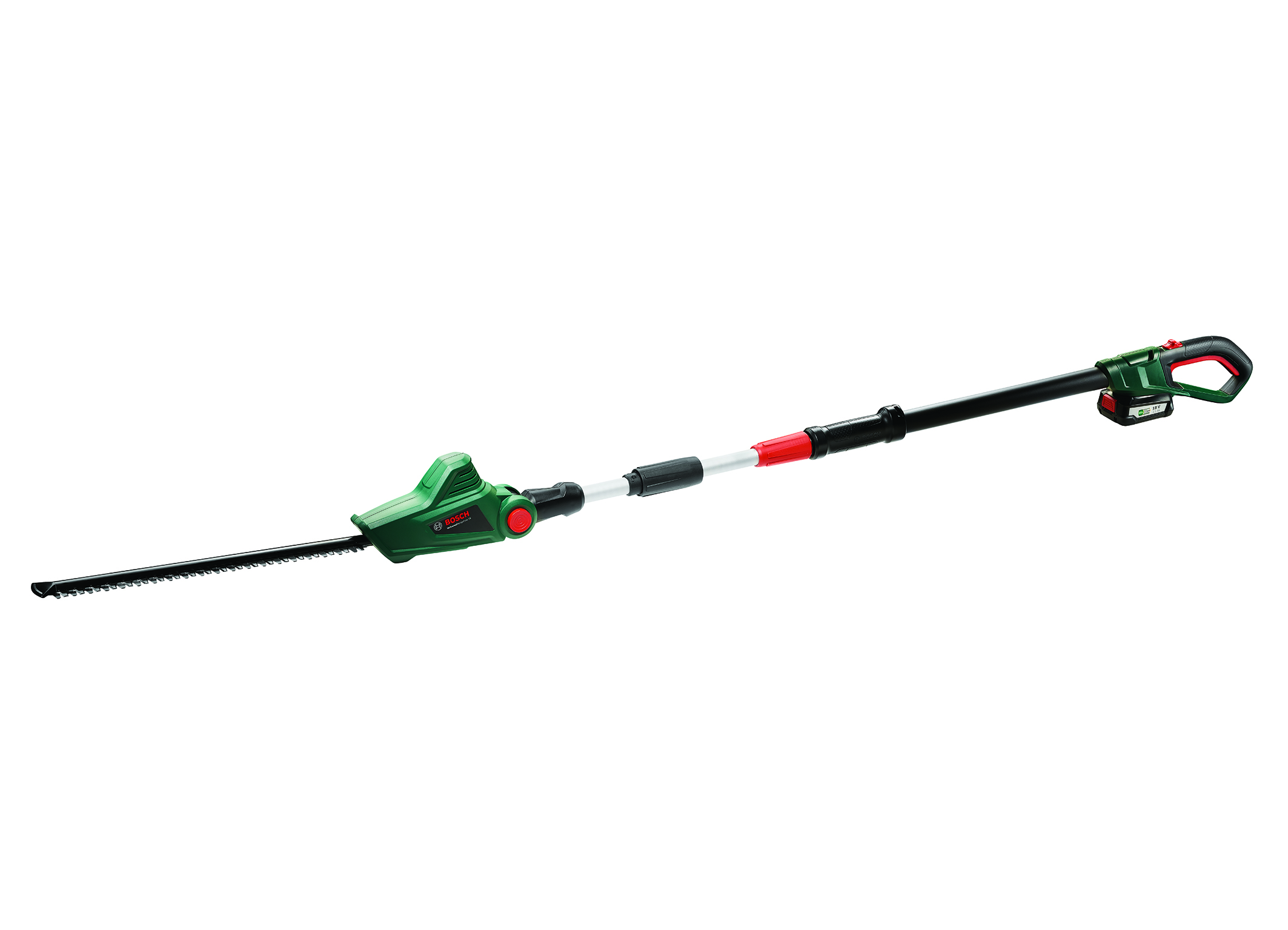 Telescopic tool for effortless work without a ladder: UniversalHedgePole 18 hedgecutter from Bosch