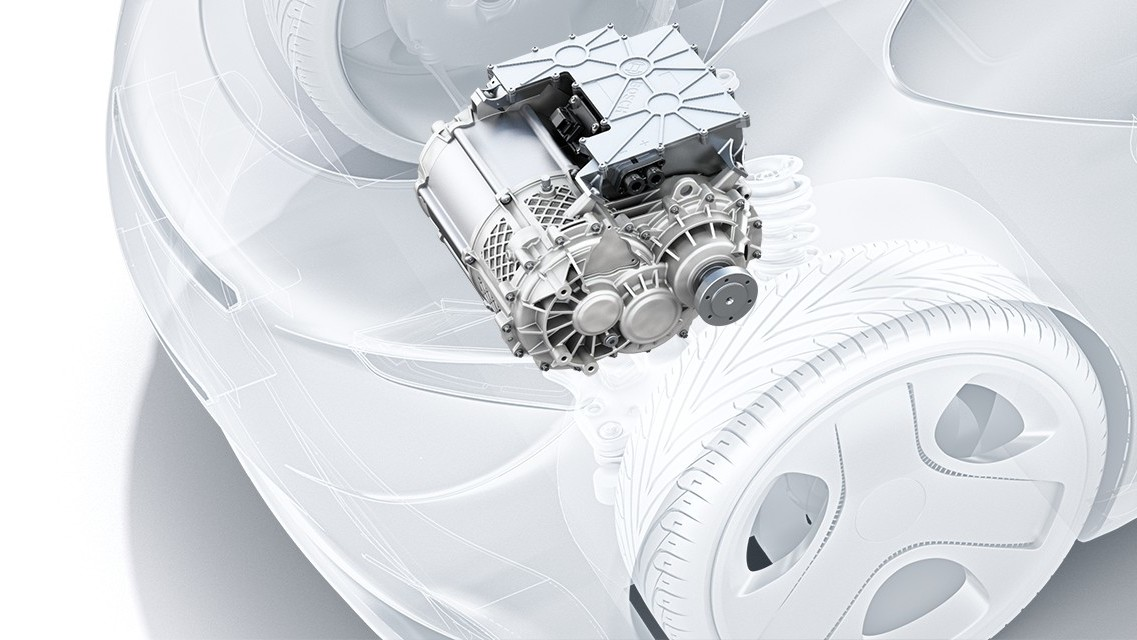 "The ""start-up"" powertrain for electric cars: the Bosch e-axle offers"