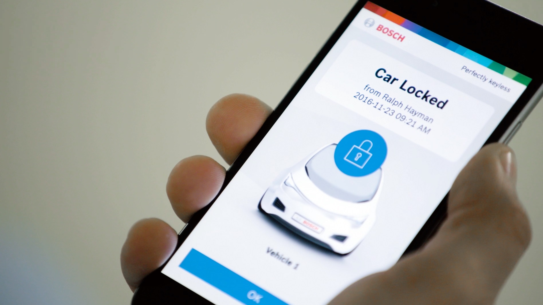 Bosch's Perfectly Keyless turns the smartphone into a car key.