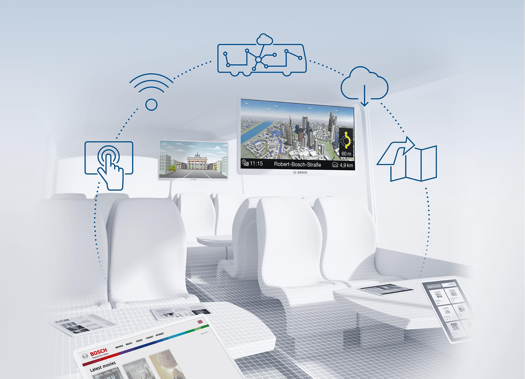 Bosch macht die Buskabine zum Entertainmentcenter