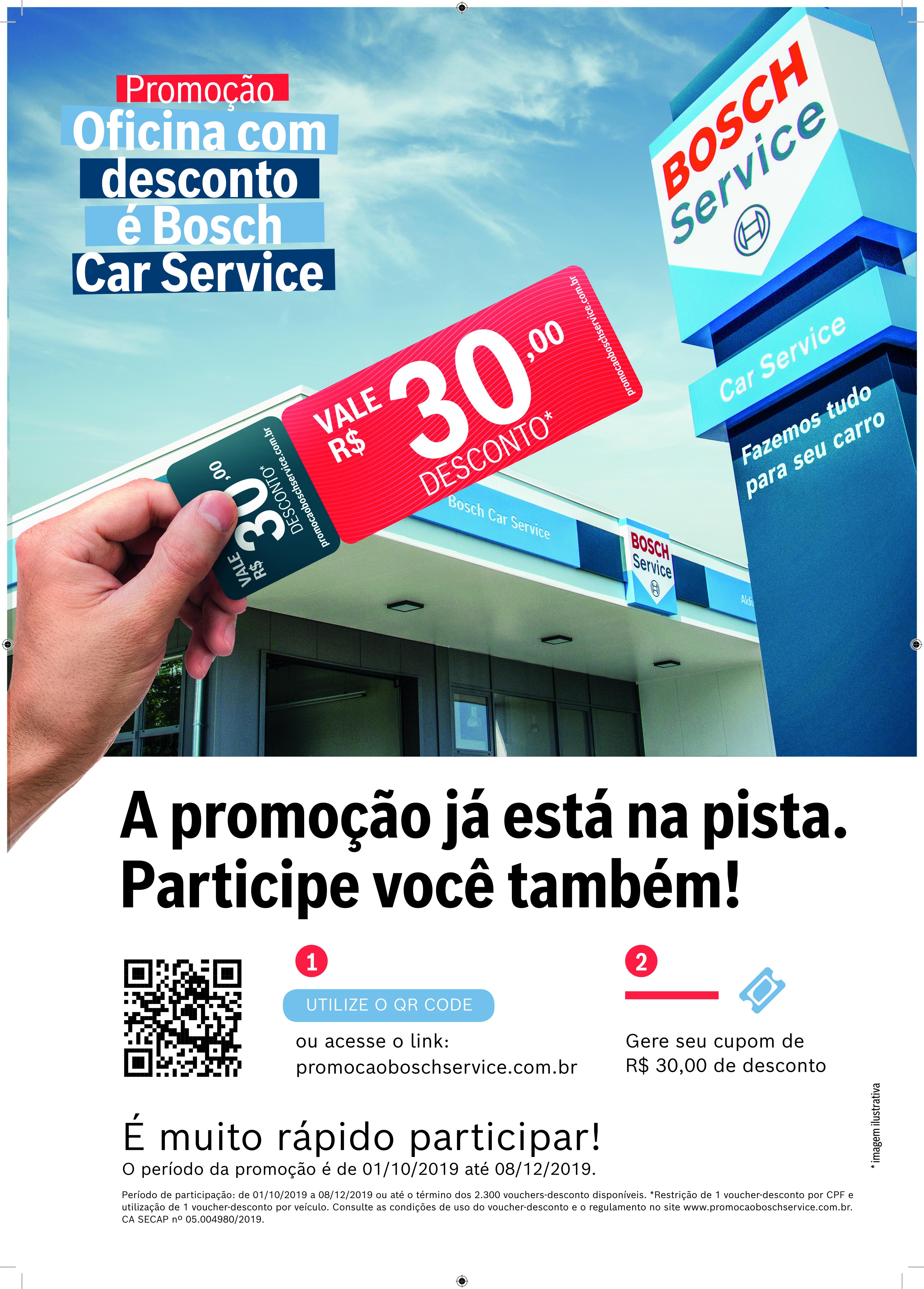 """Promoção """"Oficina com desconto é Bosch Car Service"""" proporciona cupons de desconto no valor de R$ 30 em peças e serviços e ocorre até o dia 8 de dezembro"""