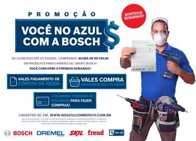 """Promoção """"Você no Azul com a Bosch"""" sorteia mais de 95 mil reais em prêmios"""