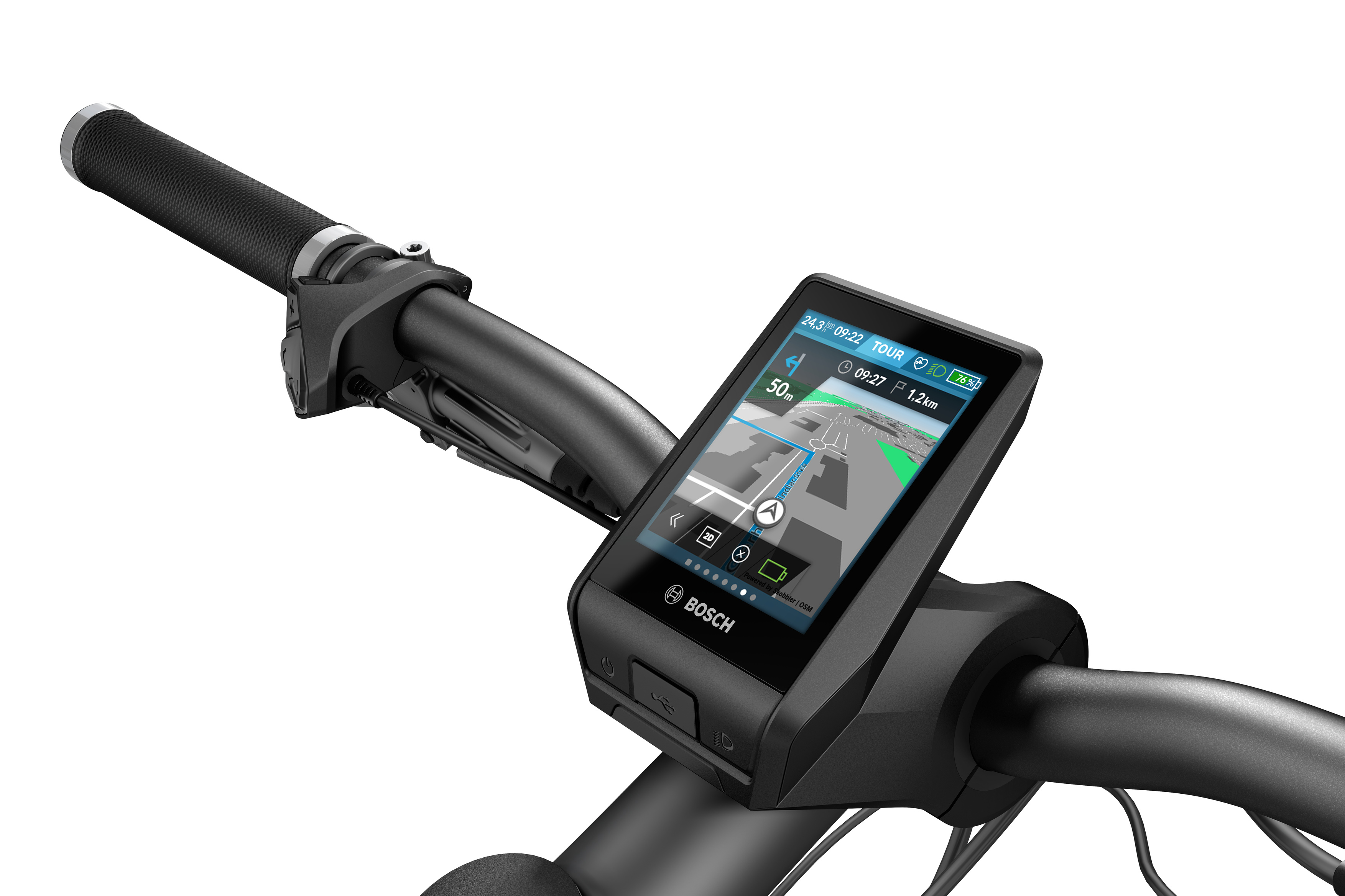A eBiker está conectado ao mundo digital e pode acessar funções como navegação a bordo e rastreamento de fitness