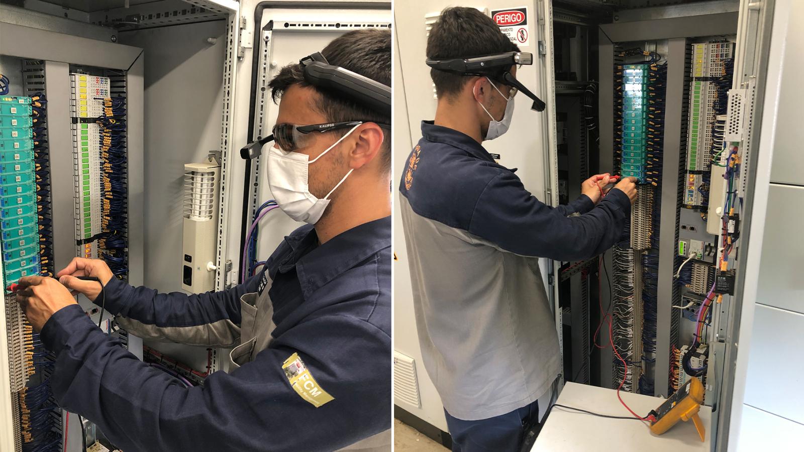 Técnico utlizando smart glasses para realizar manutenção