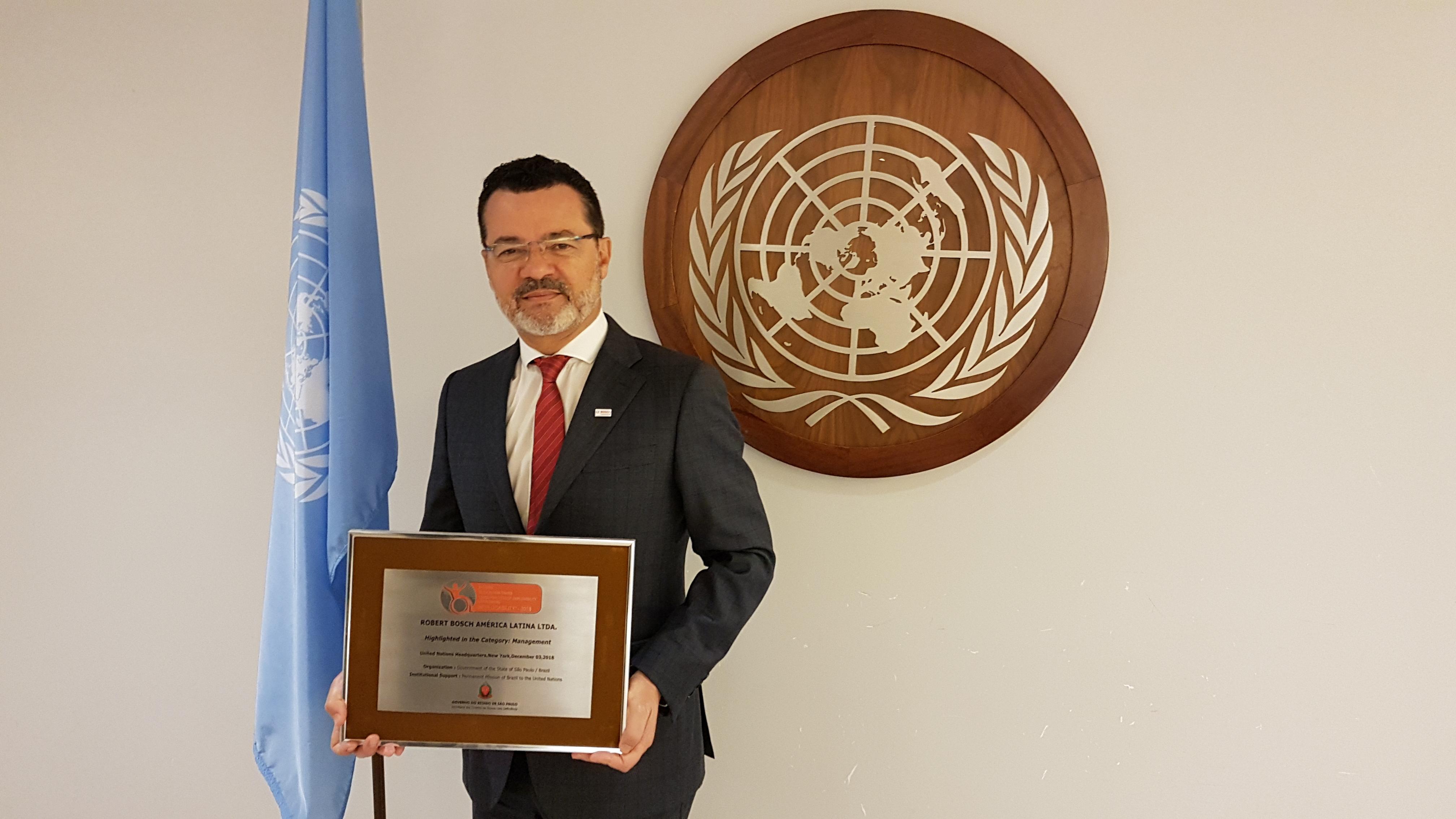 Presidente da Bosch na América Latina recebe o prêmio na sede da ONU, em Nova Iorque