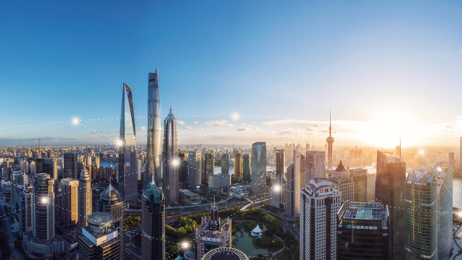 Perspectiva geral de Xangai com IoT