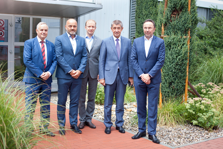 Zleva František Konečný, Milan Šlachta, Kai Frericks, Andrej Babiš a Václav Pixa