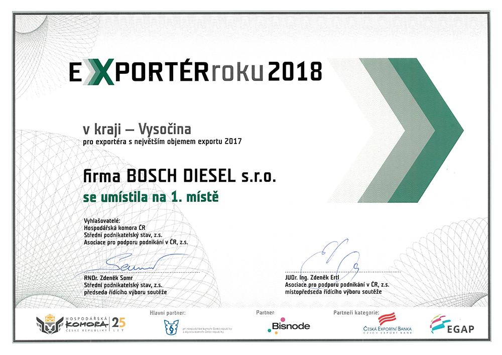 """Ocenění """"Exportér s největším objemem exportu 2017 – Kraj Vysočina""""."""