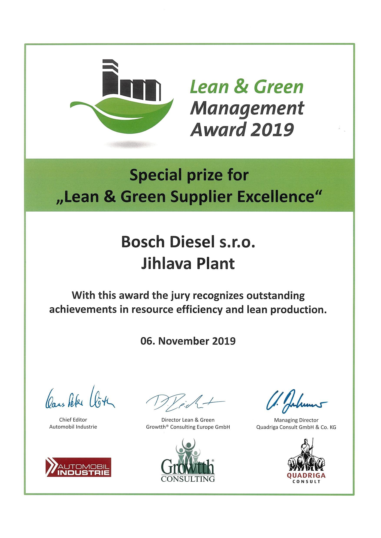 """Cena """"Lean & Green Supplier Excellence""""."""