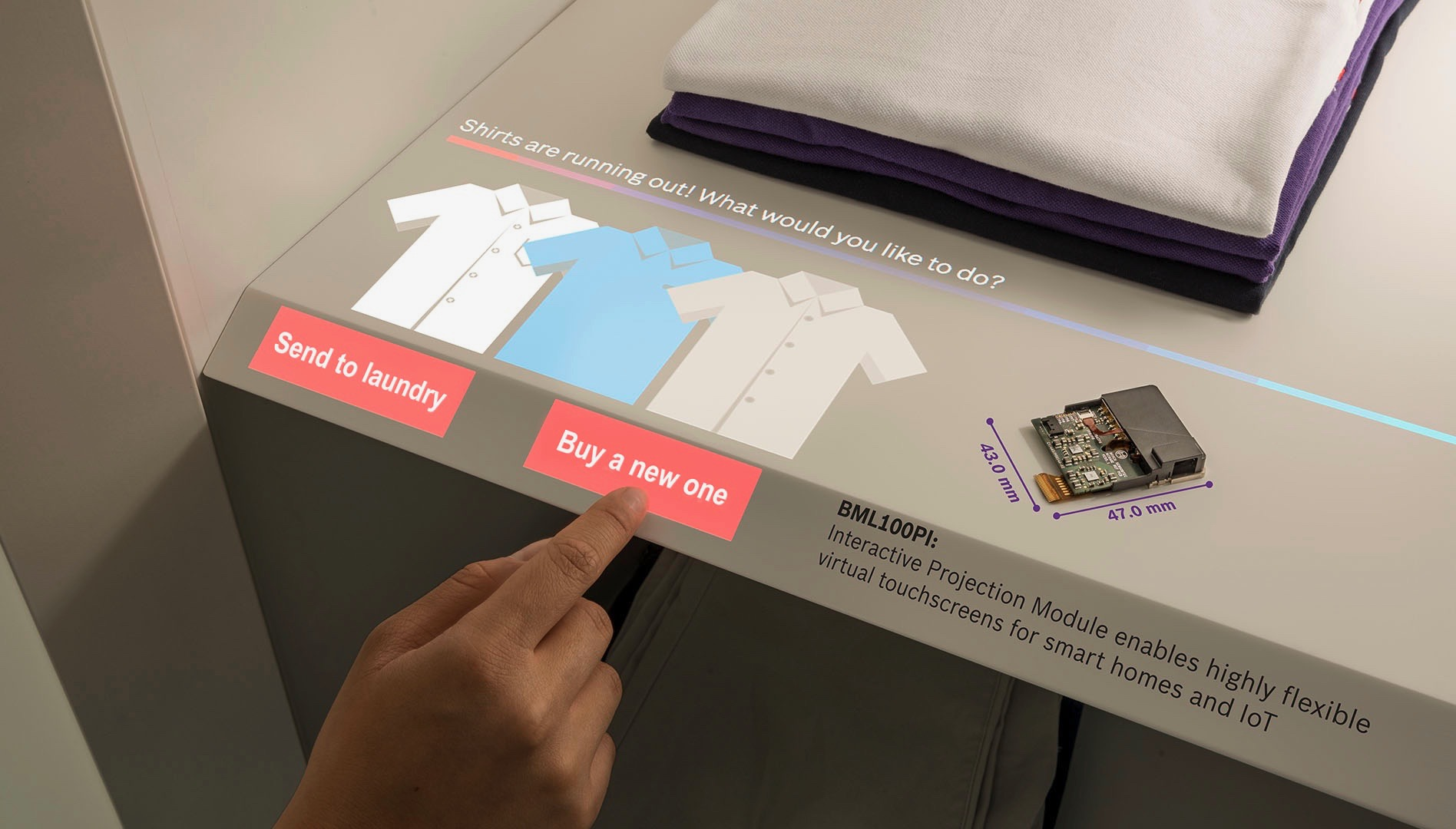 Virtuálna dotyková obrazovka pre každý povrch v chytré domácnosti a IoT