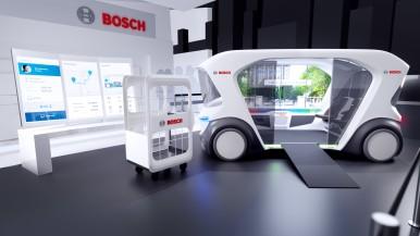 Vylepšený koncept vozidla kyvadlovej dopravy Bosch na CES 2020 v Las Vegas